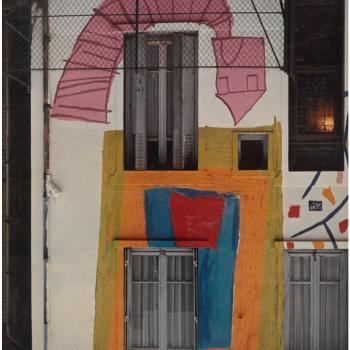 Détail de la peinture en façade de la Maison peinte